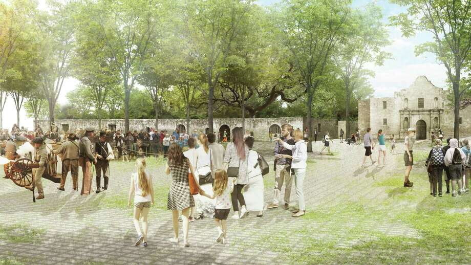 Officials of the city of San Antonio, Texas General Land Office and Alamo Endowment envision an open space in Alamo Plaza to serve as an outdoor interpretive area to complement a new 130,000-square-foot museum. The Land Office on Monday announced two firms selected to create and execute a design for the museum. Photo: Illustration By Reed Hilderbrand /