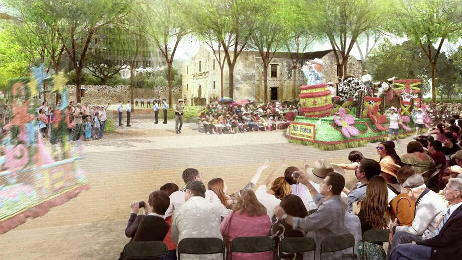 Under proposed re-routing of the Battle of Flower and Fiesta Flambeau parades, floats and other entries would pass just south of the iconic Alamo church. Photo: Illustration By Reed Hilderbrand