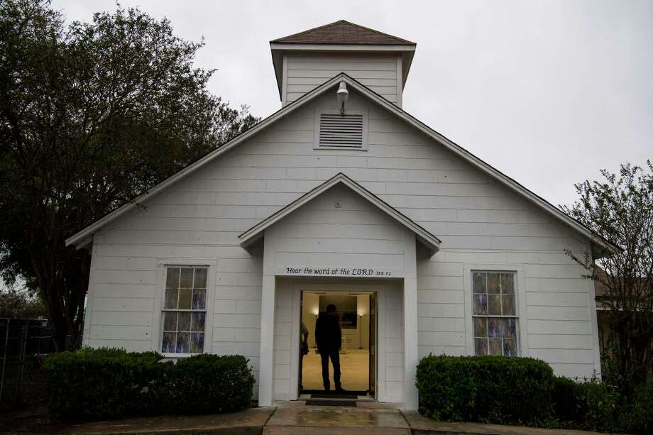 The First Baptist Church in Sutherland Springs, Texas, has been turned into a memorial to the 26 people killed there in November when a gunman invaded the sanctuary. Photo: Washington Post Photo By Carolyn Van Houten / The Washington Post