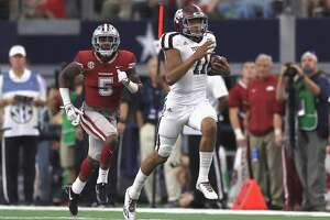 A 79-yard touchdown run against Arkansas was one of the season highlights for Kellen Mond in 2017, when he played in 10 games and started eight as a true freshman. He went 5-3 as a a starter.