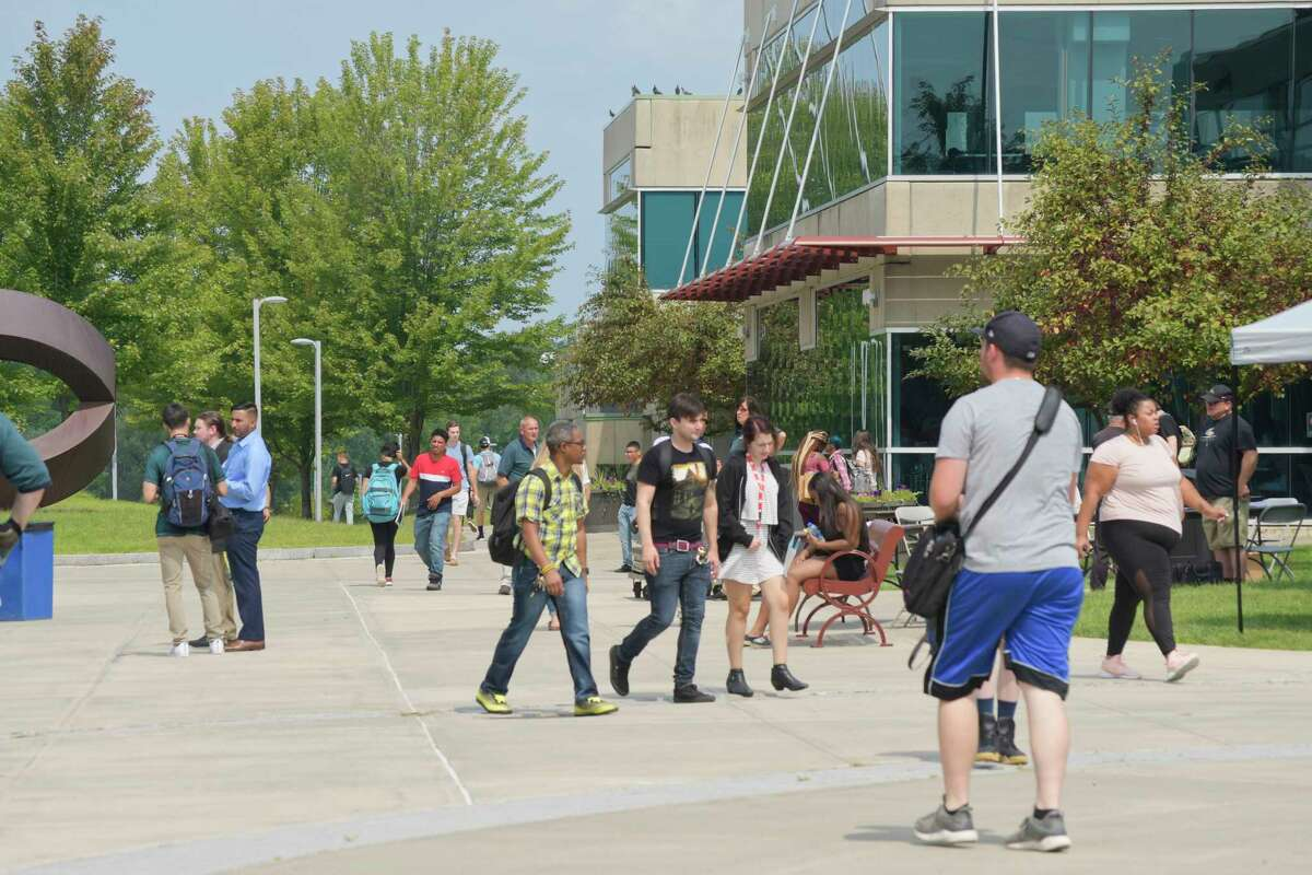Students make their way through campus at Hudson Valley Community College on Monday, Aug. 27, 2018, in Troy, N.Y. (Paul Buckowski/Times Union)