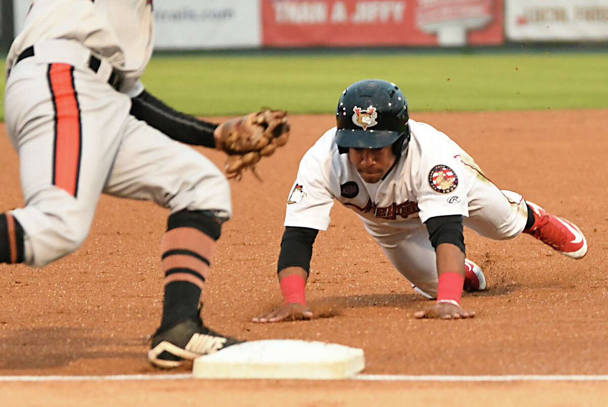 Tri-City ValleyCats' Enmanuel Valdez steals and is safe at third after hitting a double during a baseball game against the Aberdeen IronBirds on Monday, Aug. 27, 2018 in Troy, N.Y. (Lori Van Buren/Times Union)