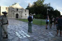 Marking were placed in the Alamo Plaza to give the people an idea of changes. An Alamo site plan is inching through an approval process. State Land Commissioner George P. Bush has signed off on it, Mayor Ron Nirenberg has yet to.