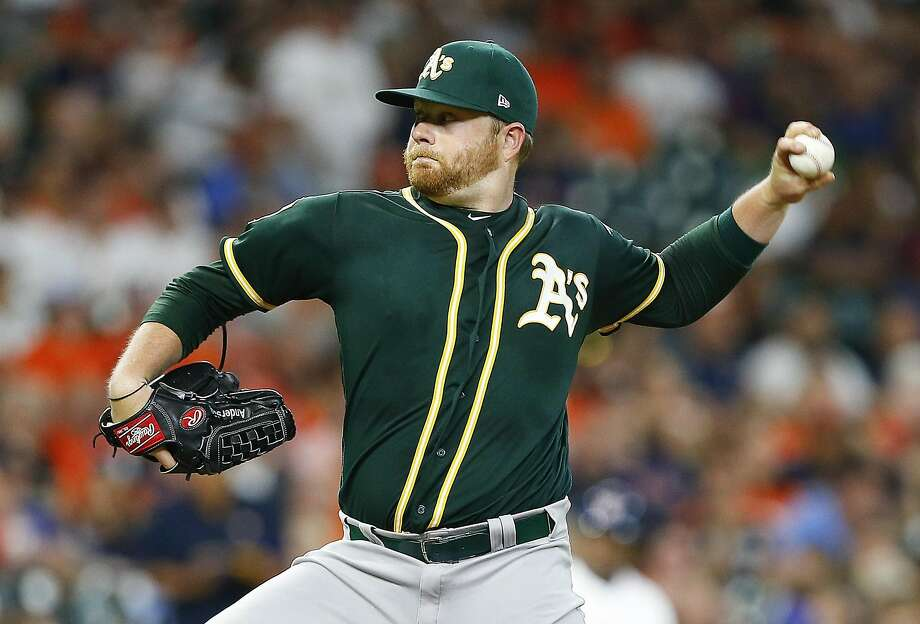 HOUSTON, TX - AUGUST 27:  Brett Anderson #30 of the Oakland Athletics pitcvhes in the first inning against the Houston Astros at Minute Maid Park on August 27, 2018 in Houston, Texas.  (Photo by Bob Levey/Getty Images) Photo: Bob Levey / Getty Images