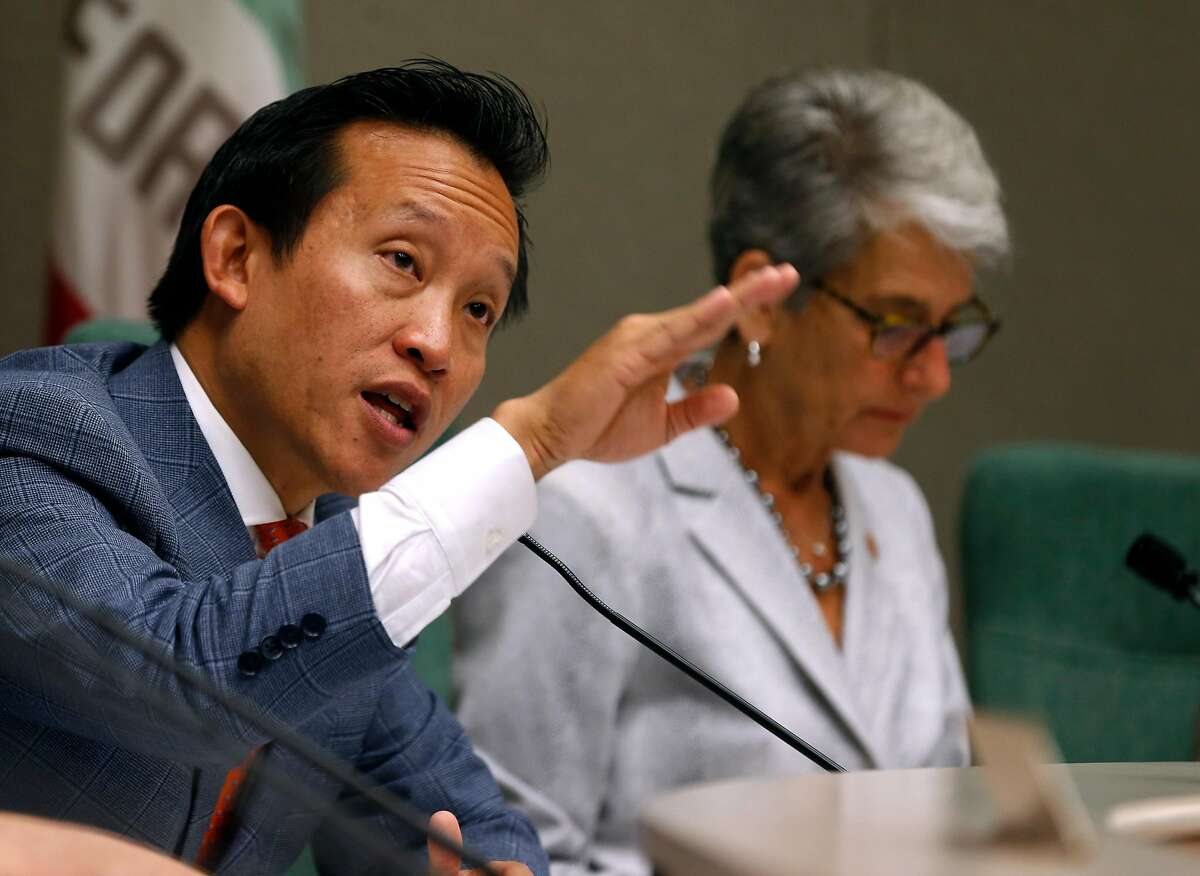 Assemblyman David Chiu and state Sen. Hannah-Beth Jackson co-chair a joint hearing on the statewide ballot measure to repeal the Costa-Hawkins rental housing act at the State Capitol in Sacramento, Calif. on Thursday, June 21, 2018.