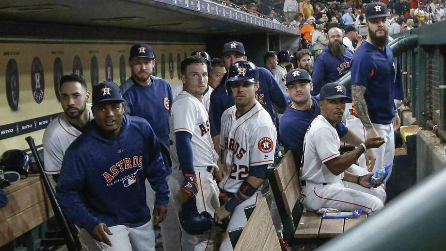 The Houston Astros give the Bergman stare after Houston Astros third baseman Alex Bregman (2) hit a homer in the 8th inning during an MLB game at Minute Maid Park Monday, Aug. 27, 2018. Photo: Steve Gonzales, Staff Photographer / Staff Photographer / © 2018 Houston Chronicle