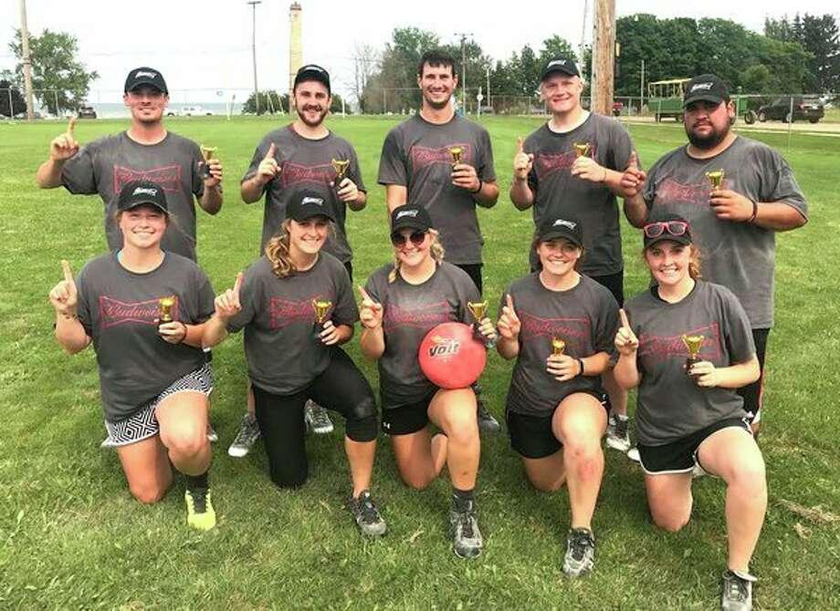 Team Budweiser won the Port Hope ABC Days Kickball Tournament. Team members are Cody Deer, Mitch Guza, Jon Isler, Nate Guza, Alex Razo, Cassidy Woodward, Jade Wolschleger, Morgan Gust, Alyssa Briolat and Maria Guza. (Submitted Photo)