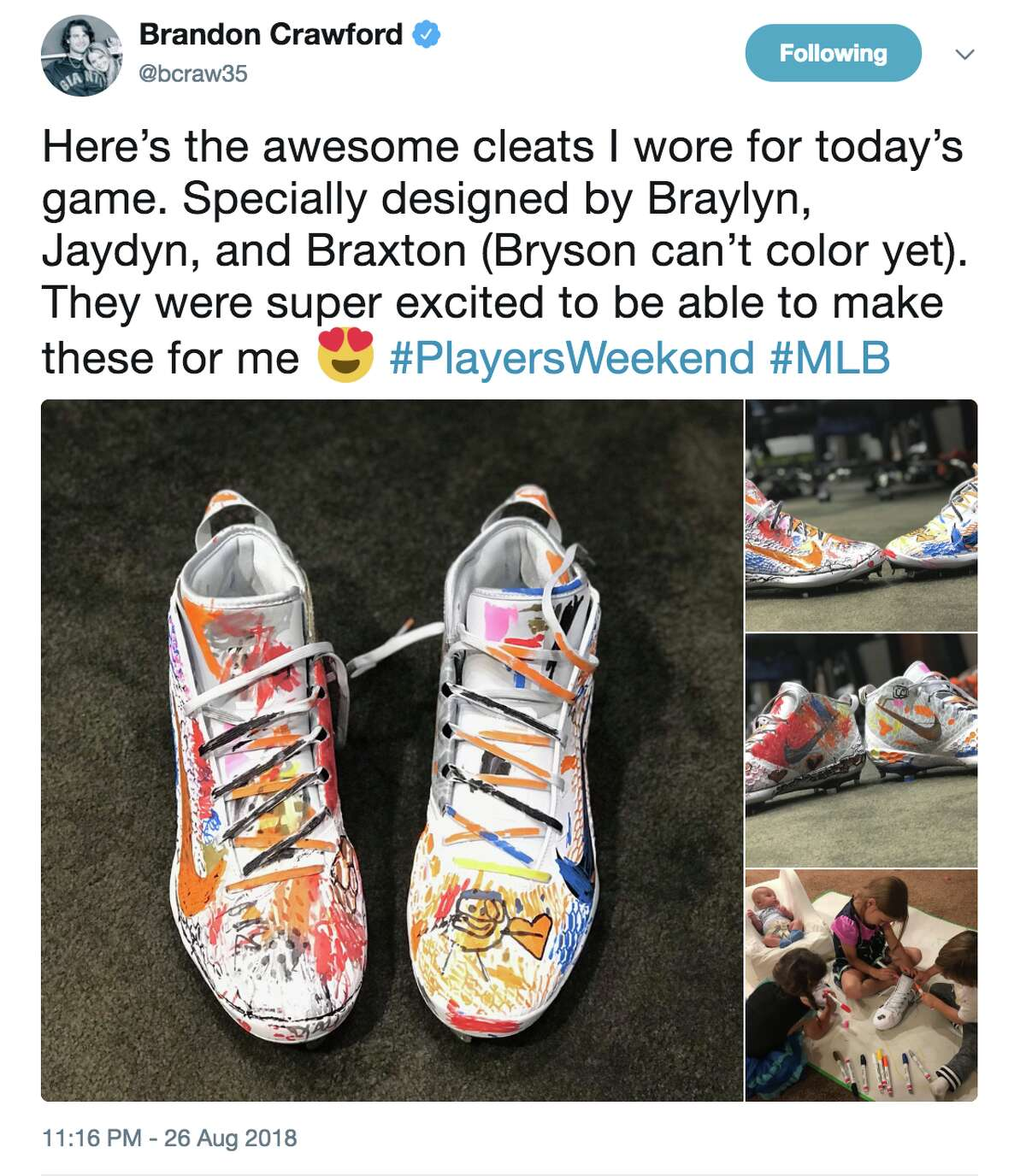 San Francisco Giants shortstop Brandon Crawford shared images on Twitter on Aug. 26, 2018, of the baseball cleats his children decorated with markets.