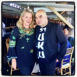 San Francisco Fall Art & Antiques Show chairwoman Suzanne Tucker with honorary chairman and fashion designer Andrew Gn at last year's event. Oct. 2017.