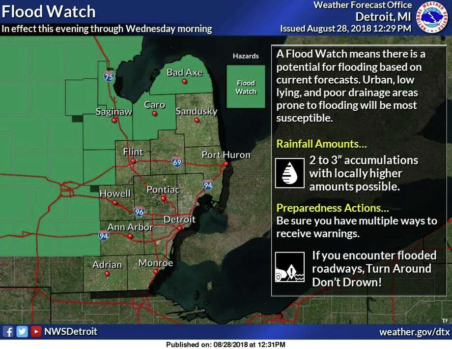Forecast trends suggest the potential for 2 to 3 inches of additional rainfall for localized areas is increasing. Photo: National Weather Service, Detroit