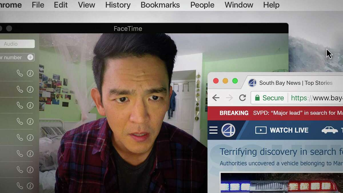 """John Cho performs in Aneesh Chaganty's film """"Searching."""" The film shown entirely through the perspective of a computer screen utilizes technology to tell the story of a father desperately searching for his missing daughter."""