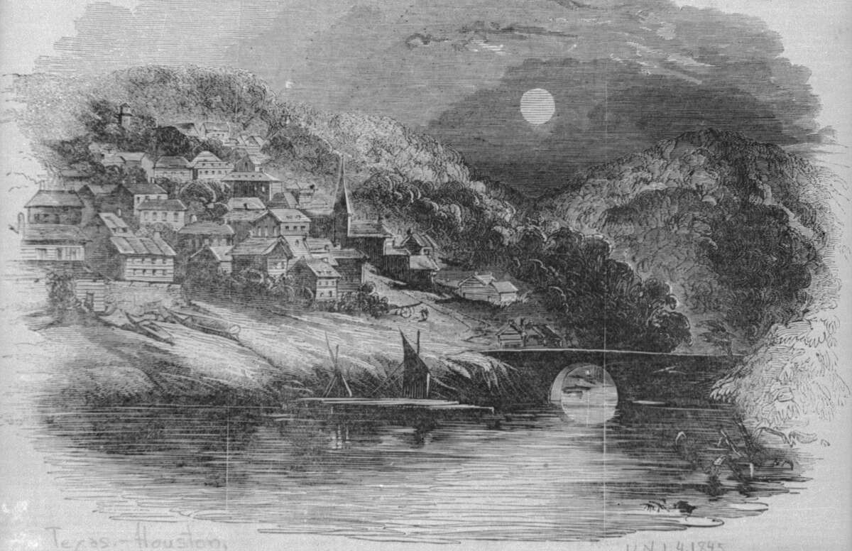 In 1836 the Allen brothers put out an advertisement showing off the settlement along Buffalo Bayou dubbed Houston. The area soon be known as Houston looked more like idyllic hilly European hamlet than a bayou village swarming with mosquitoes and people living in tents. As can be seen in the illustration above they had to fib a little to get the first few settlers in Houston.