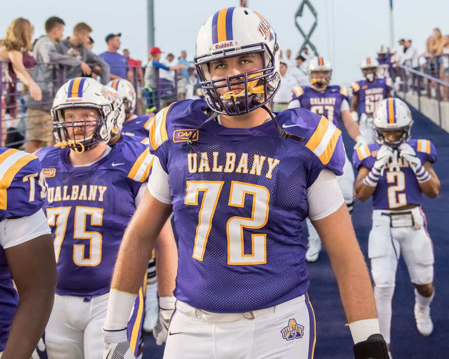 UAlbany junior Griffin Clancy, a Saratoga Springs graduate, will start at left guard in the opener at Pittsburgh on Saturday, Sept. 1. (Bill Ziskin/UAlbany athletics) Photo: UAlbany Athletics