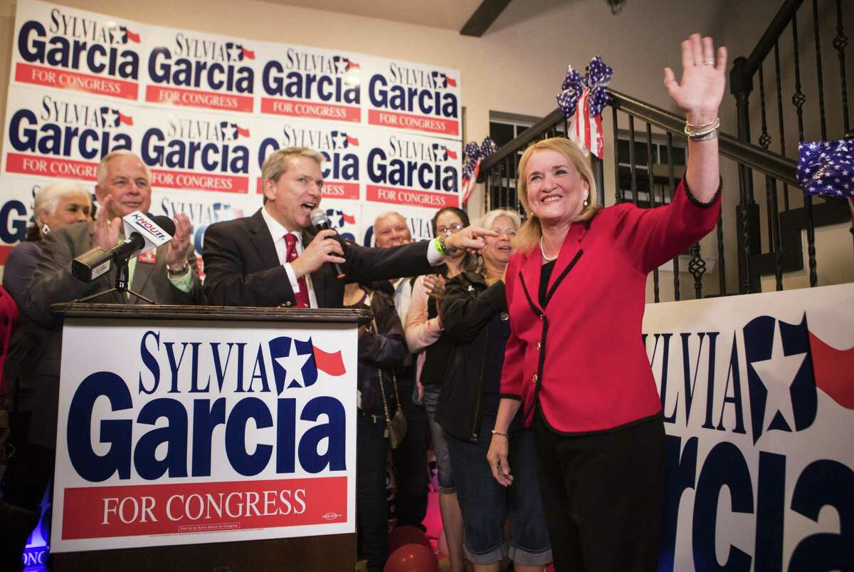 Sylvia Garcia approaches the podium to accept the primary elections victory, Tuesday, March 6, 2018, in Houston. ( Marie D. De Jesus / Houston Chronicle )