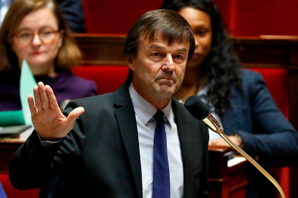 (FILES) In this file photo taken on December 19, 2017 French Minister of Ecological and Inclusive Transition Nicolas Hulot delivers a speech during a session of Questions to the government at the French national assembly in Paris. - French Minister for the Ecological and Inclusive Transition Nicolas Hulot has announced his resignation from the government, on August 28, 2018. (Photo by Patrick KOVARIK / AFP)PATRICK KOVARIK/AFP/Getty Images