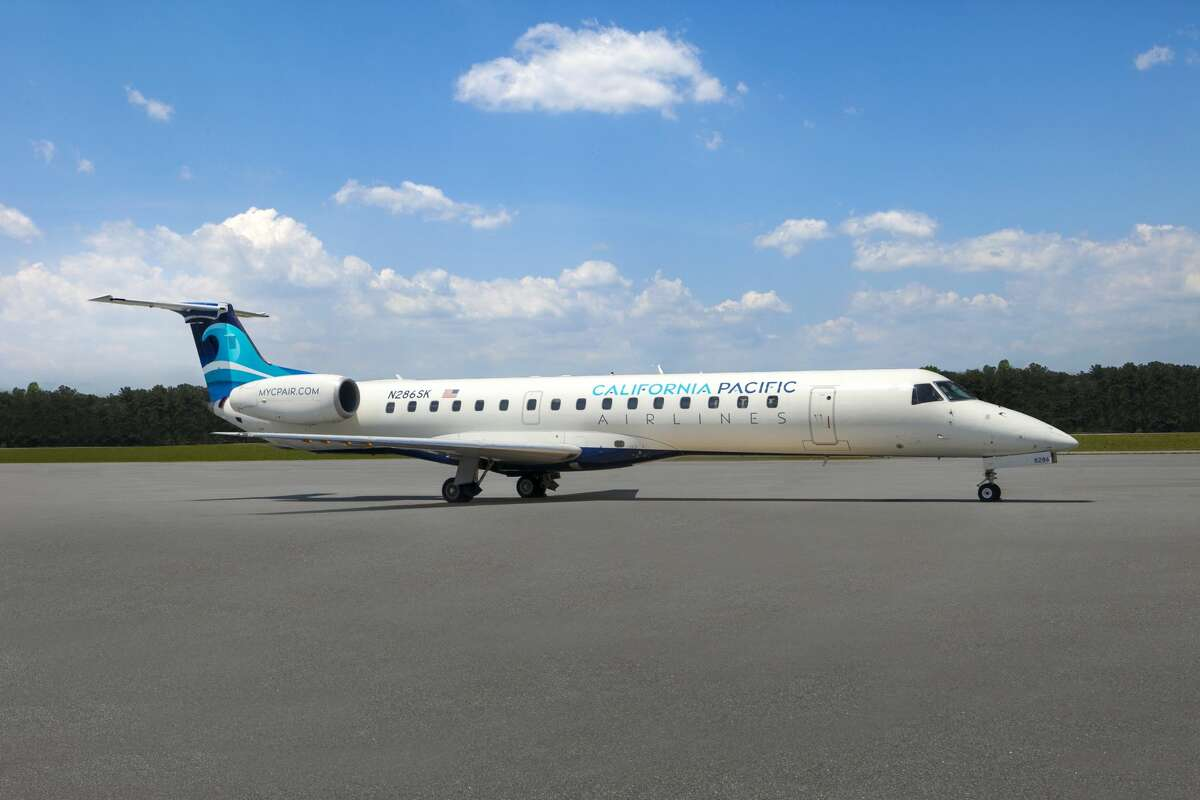 California Pacific Airlines Embraer ERJ-145 jet has 50 seats configured three abreast (1-2).