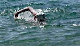 15-year-old Angel More nears the end of her 21.3 mile swim across Lake Tahoe on Sat. August 25, 2018 in Incline Village, Nevada.