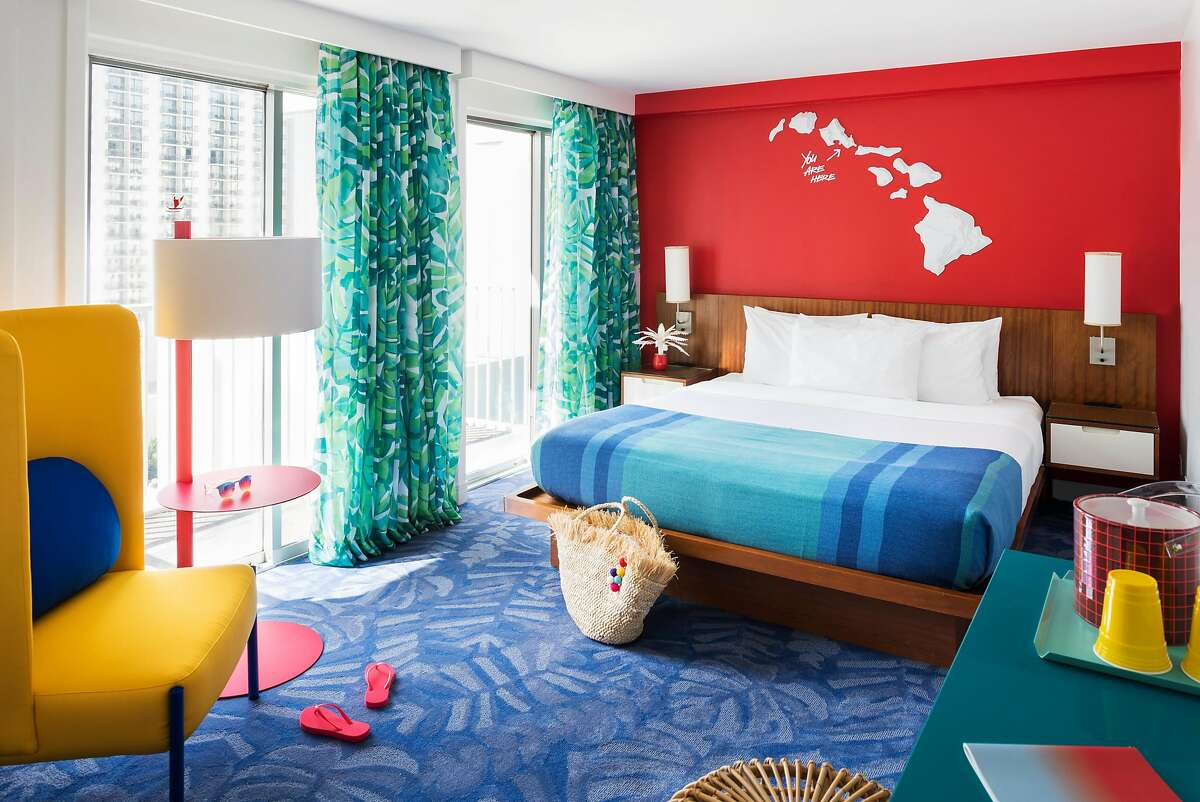 The 135-room Shoreline Waikiki has undergone a �nature meets neon� redesign with bright tropical colors, monstera-leaf prints and midcentury-modern-style furnishings.