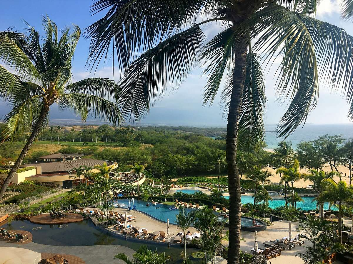The open-air Meridia restaurant (left) and the new pool complex at the redesigned Westin Hapuna Beach Resort overlook Hapuna Beach State Recreation Area.