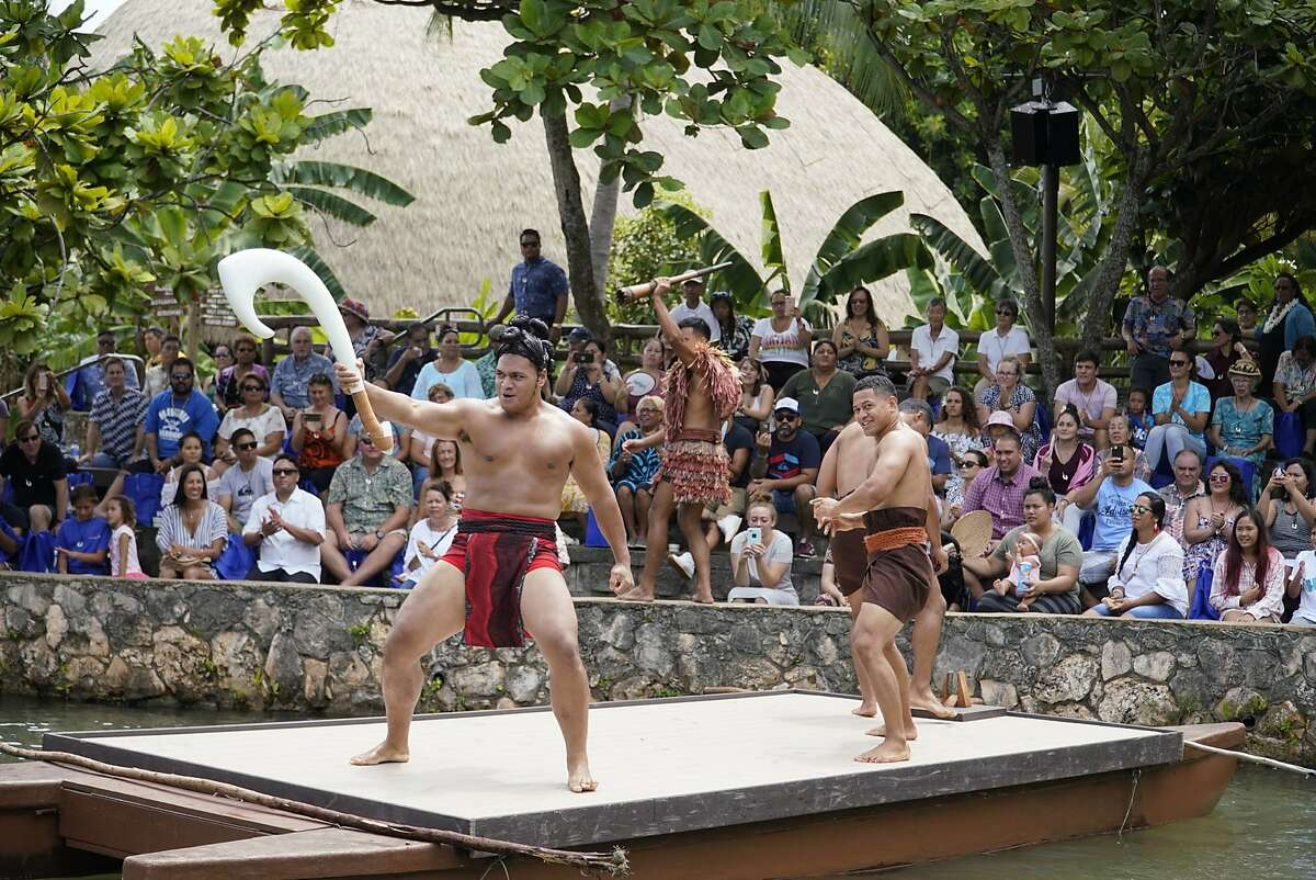 Polynesian Cultural Center�s new lagoon show features the story of demigod Maui and his island-catching fishhook.
