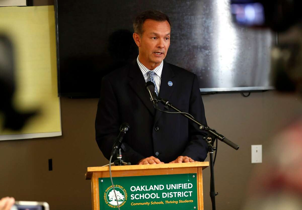 John Sasaki, Oakland United School District Director of Communications, speaks about funding for the district's sports teams in Oakland, Calif. on Monday, August 27, 2018.