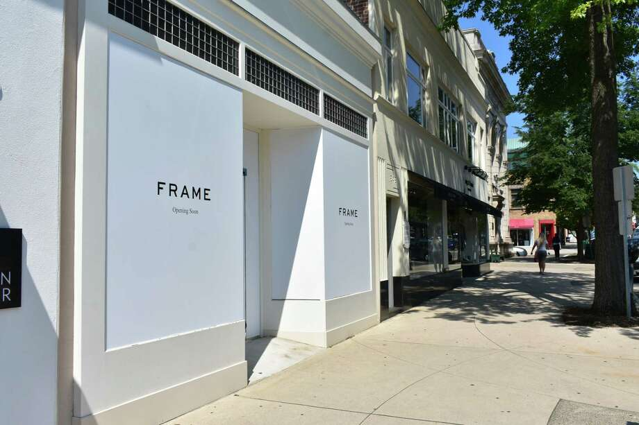 Work is under way for fashion denim retailer Frame's first Connecticut store. An official opening date is not yet known.  Photo: Alexander Soule, Hearst Connecticut Media / Stamford Advocate