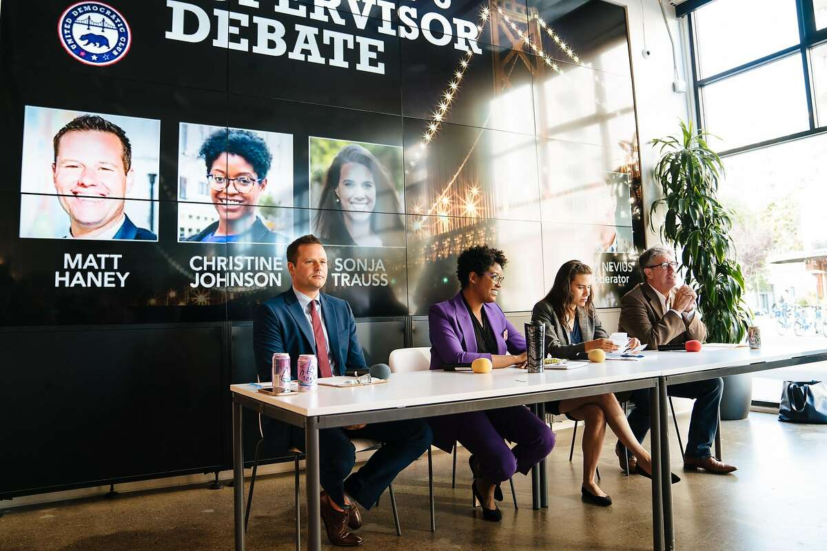 From the left, Matt Haney, Christine Johnson and Sonja Trauss with the moderator, C. W. Nevius, prepare to start the District 6 Supervisor debate in San Francisco, Calif., Tuesday, July 24, 2018.