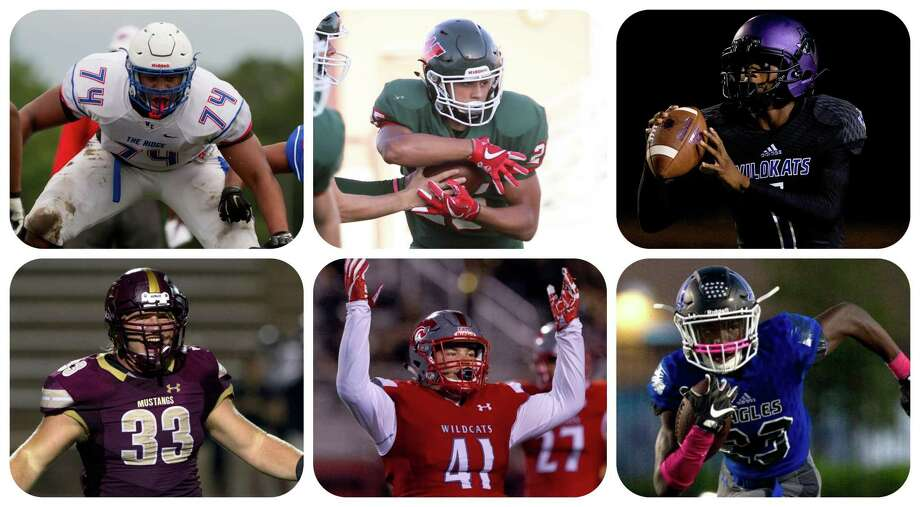 From left, top row: Tyler Johnson (Oak Ridge), Bryeton Gilford (The Woodlands), JerMichael Dickerson (Willis). From left, bottom row: Rusty Bertrand (Magnolia West), Kyle Weber (Splendora), Jaylen Neal (New Caney). Photo: Staff Photos