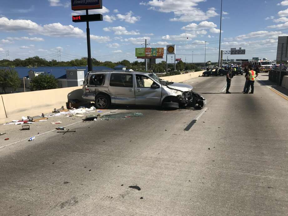 A crash apparently involving a stolen ambulance snarled traffic in San Antonio during the Tuesday afternoon rush hour on Tuesday, Aug. 28, 2018. Photo: San Antonio Police Department