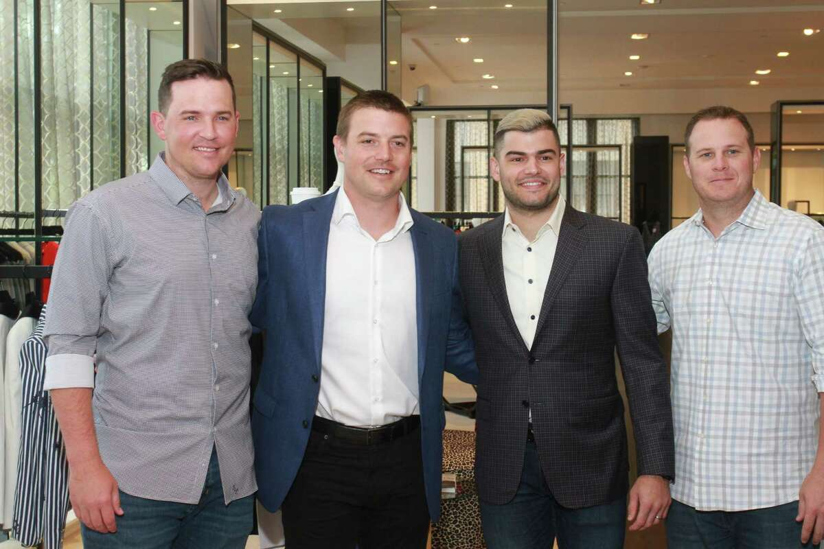 Astros Will Harris, from left, Joe Smith, Lance McCullers Jr., and Brad Peacock at the luncheon at Tootsies benefiting Help Cure HD.