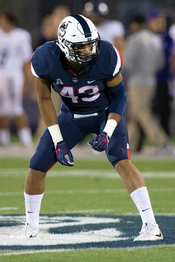 """UConn linebacker Darrian Beavers has put on about 30 pounds of muscle since last season, and it shows: """"I can tell when I hit people."""" Photo: Stephen Slade / UConn / Stephen Slade"""