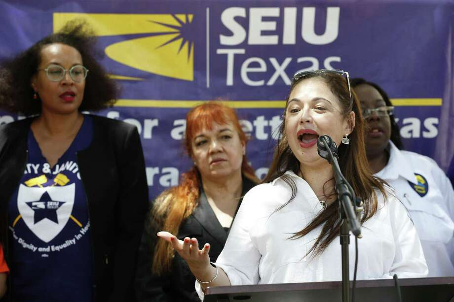 Elsa Caballero, president of SEIU Texas address members of media held a press conference at Houston City Hall Tuesday, Aug. 28, 2018, in Houston. Photo: Steve Gonzales, Staff Photographer / Staff Photographer / © 2018 Houston Chronicle