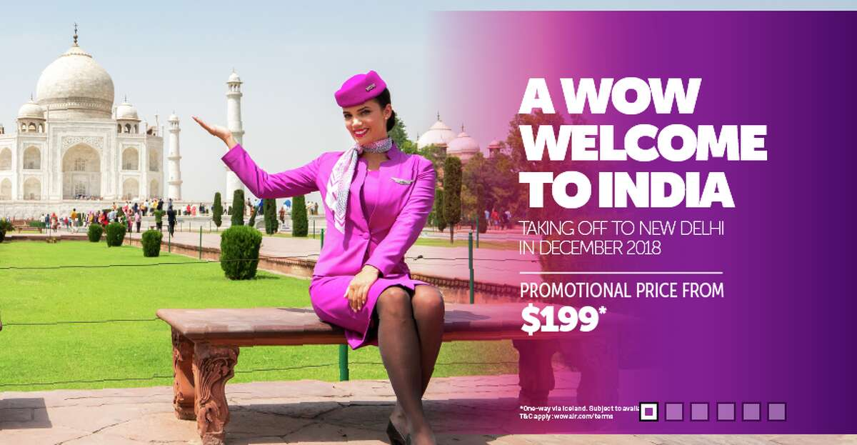 Wow Air's website banner offering $199 fares to India