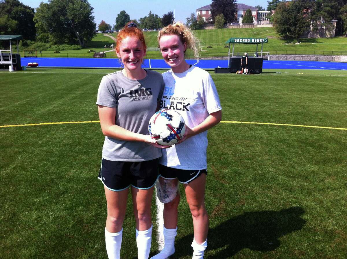Athena Corroon, left and Claire Liddy are senior captains on the Sacred Heart Greenwich soccer team. Corroon is a goalie and Liddy is one of the Tigers?' defenders. August 28, 2018