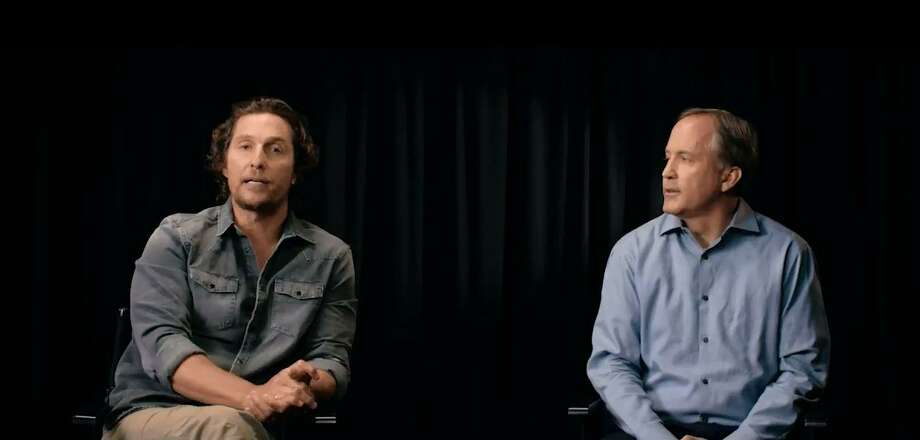 Actor Matthew McConaughey and Attorney General Ken Paxton appear in a public service announcement released Tuesday, Aug. 28, 2018, urging people to learn the signs of human trafficking. Photo: Courtesy Of The Texas Office Of The Attorney General