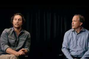 Actor Matthew McConaughey and Attorney General Ken Paxton appear in a public service announcement released Tuesday, Aug. 28, 2018, urging people to learn the signs of human trafficking.