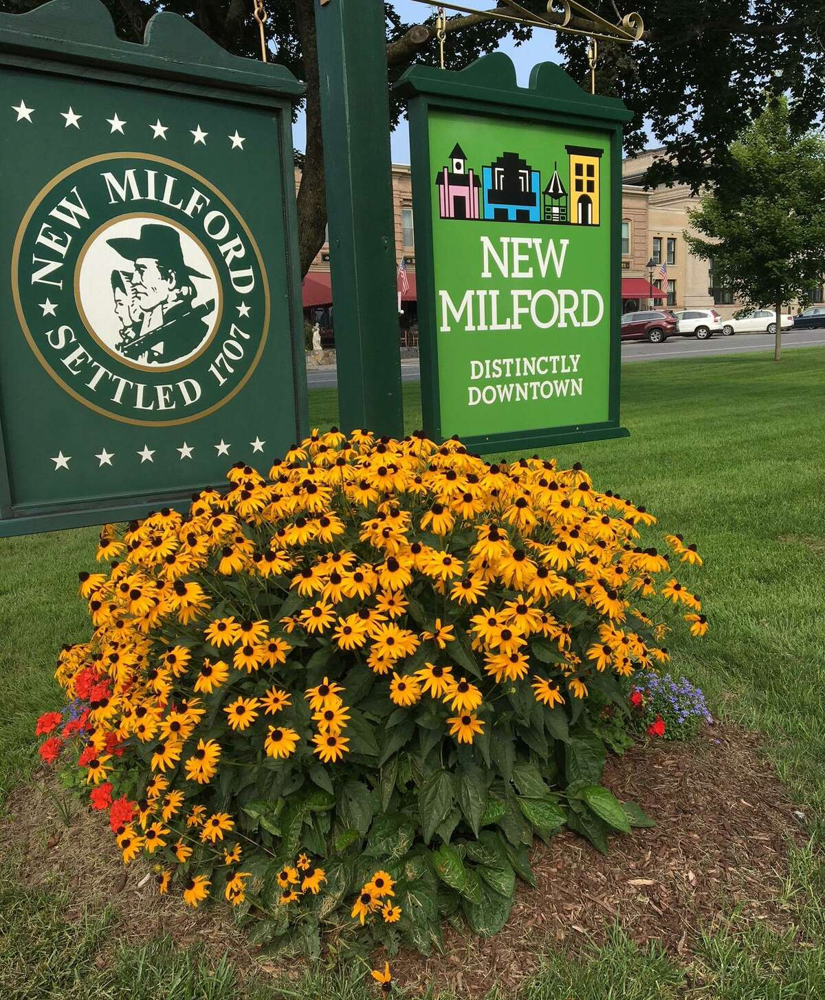The New Milford Garden Club will celebrate its 95th anniversary with a special gardening show Sept. 15 from 10 a.m. to 3 p.m. The event, which will be held at the John Pettibone Community Center at 2 Pickett District Road, will feature displays, lectures, floral designs, activities for children, door prizes and refreshments. Admission is free. The club has planned, planted and cared for numerous landscaping projects and gardens throughout town, including this one at the south end of the Village Green.