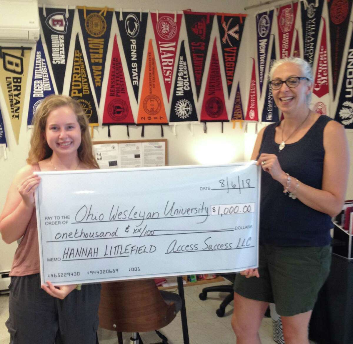 Access Success LLC in New Milford recently presented its inaugural $1,000 annual scholarship to Hannah Littlefield of New Milford, a 2018 New Milford High School graduate. Hannah is enrolled at Ohio Wesleyan University. Of the 60 students Access Success worked with this past application cycle who qualified to apply for this scholarship, a dozen applicants did so. Hannah is shown above with Francesca Morrissey of Access Success.