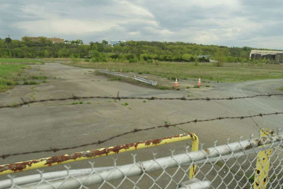 A view of the former BASF factory site on Wednesday, May 9, 2018, in Rensselaer, N.Y. A $35 million composting facility is being proposed for the site. (Paul Buckowski/Times Union)