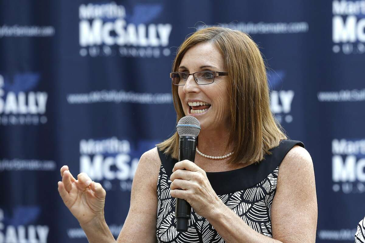 Rep. Martha McSally, R-Ariz., speaks during a news conference at a campaign event for her U.S. Senate primary race Wednesday, Aug. 15, 2018, in Phoenix. McSally, Kelli Ward and former Maricopa County Sheriff Joe Arpaio are vying for the Republican nomination, but there are no plans currently for a televised debate for the Republican candidates, on the Democratic side, Rep. Kyrsten Sinema and activist Deedra Abboud haven't had a televised debate either. (AP Photo/Ross D. Franklin)