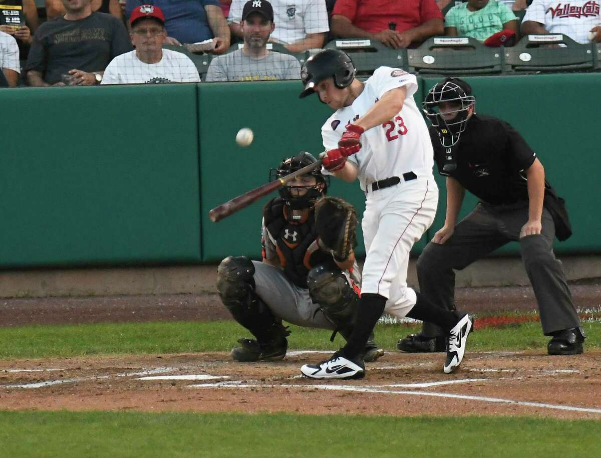 Tri-City ValleyCats Logan Mattix (23) bats against the Aberdeen IronBirds during a minor league baseball game Tuesday, Aug. 28, 2018, in Troy, N.Y. (Hans Pennink / Special to the Times Union)