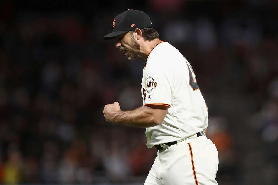 Madison Bumgarner #40 of the San Francisco Giants reacts after the Giants got the final out of the sixth inning, in which the Arizona Diamondbacks had the bases loaded but were unable to score, at AT&T Park on August 28, 2018 in San Francisco, California.  Photo: Ezra Shaw / Getty Images
