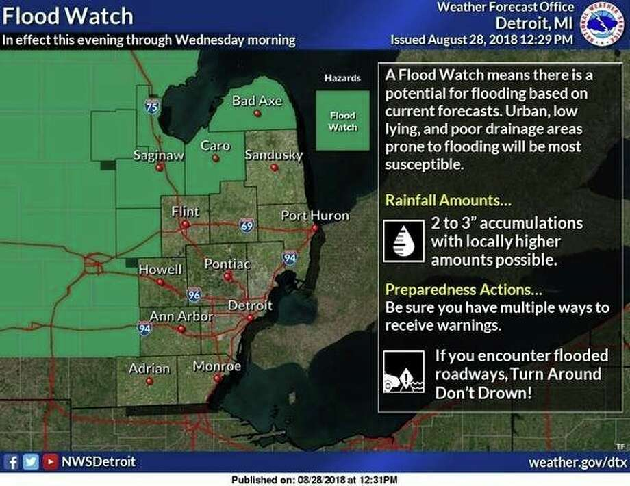 A Flood Watch has been issued through Wednesday morning for Midland County. Forecast trends suggest the potential for 2 to 3 inches of additional rainfall for localized areas. Recent rainfall amount of 2 to 3 inches in these areas will lead to an enhanced risk of local flooding  into Wednesday. (National Weather Service, Detroit)