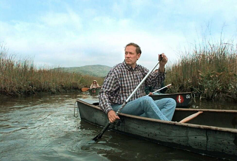 SEPTEMBER 30 1998 -- GARRISON NY -- Governor George Pataki takes a look around Constitution Marsh Sanctuary Wednesday morning as he paddles through during a canoe tour of the marsh.
