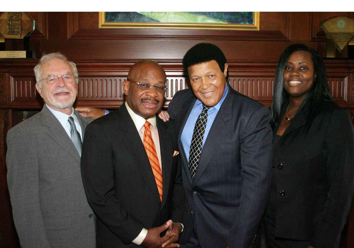 Attorney Robert Parenti (far left), Attorney Willie E. Gary (second from left), Chubby Checker (second from right), Attorney Alicia M. Phidd (far right). (PRNewsFoto/Gary, Williams, Parenti, Watson & Gary, P.L.)