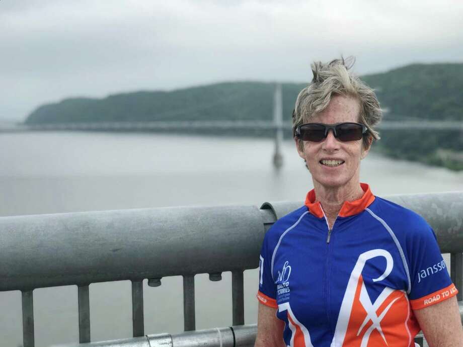 Anne Burleigh, a Darien resident, in her cycling jersey. Photo: /provided By Anne Burleigh