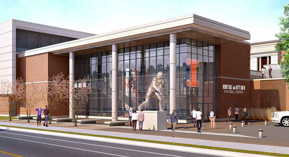 An artist's rendering of an entrance to the Henry Dale and Betty Smith Football Center in Champaign. The H.D. Smith Foundation, led by Dale and Chris Smith, has announced a donation of $20 million to the University of Illinois Foundation, with $15 million dedicated to the Fighting Illini Football Performance Center. In recognition of the gift, the building will forever be named the Henry Dale and Betty Smith Football Center. Photo: Illinois Athletics