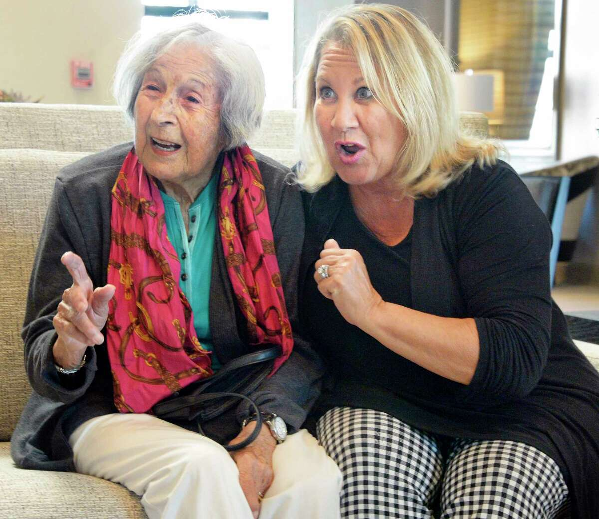 Dona Frank-Federico, left, and her mother Esther Morales during an interview at the Granville Apartments Wednesday July 11, 2018 in Malta, NY. (John Carl D'Annibale/Times Union)