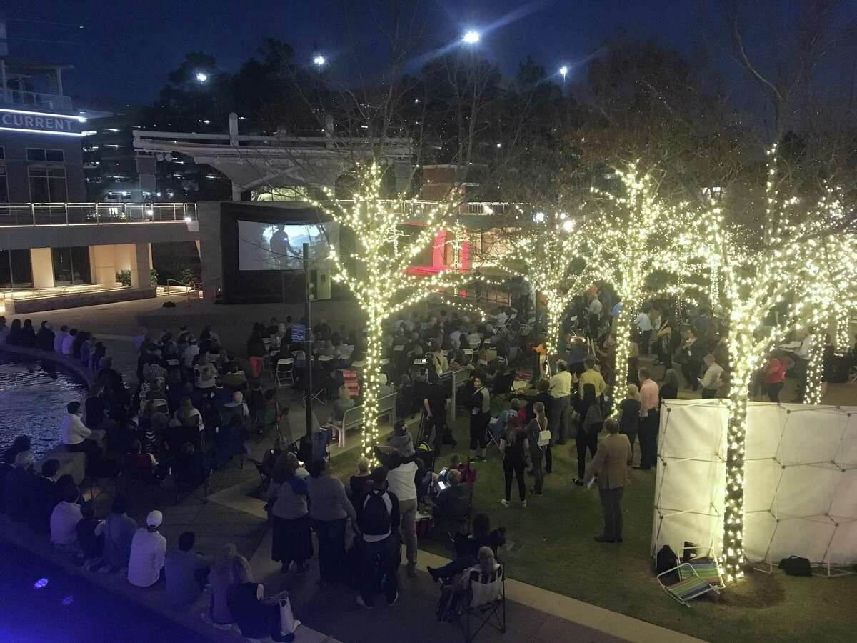 The 2019 Inspire Film Festival begins Thursday night, Feb. 14, with the short films viewing on The Woodlands Waterway. In this 2018 photograph, a large crowd gathered around a temporary screen to watch and be inspired by 15-20 minute documentaries from the first night of the 2018 event.