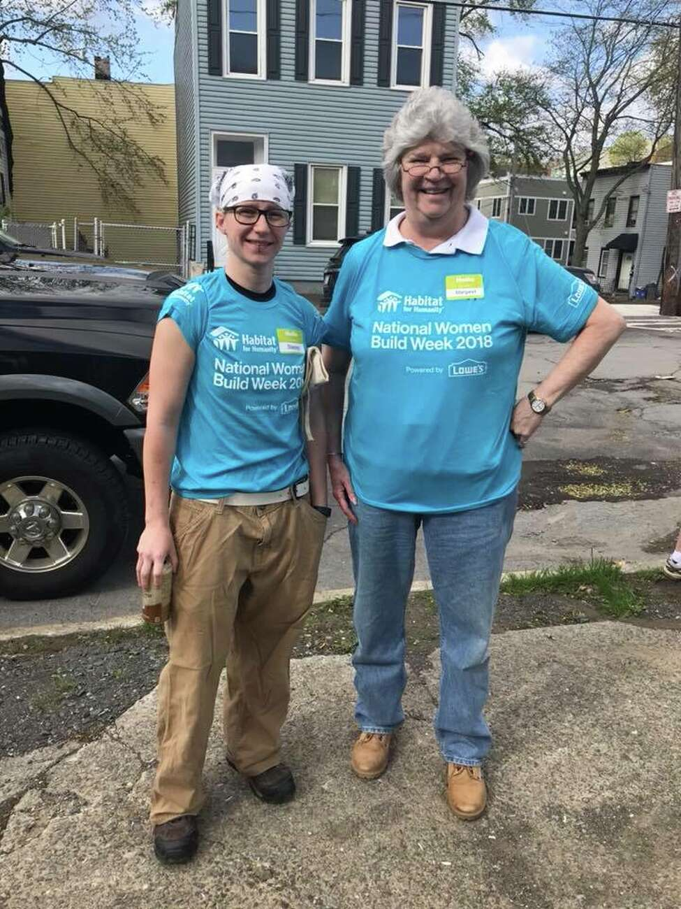 Mary King, at right, with another Capital District Habitat for Humanity Women Build 2018 volunteer. (Capital District Habitat for Humanity)